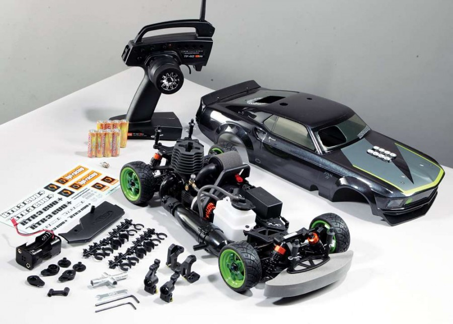 The Mustang RTR-X comes as an RTR and includes almost everything you need to get going. Just pro- vide some fuel, a fuel bottle, and a glow igniter and you are ready to go (you even get AA batteries for the radio gear)!